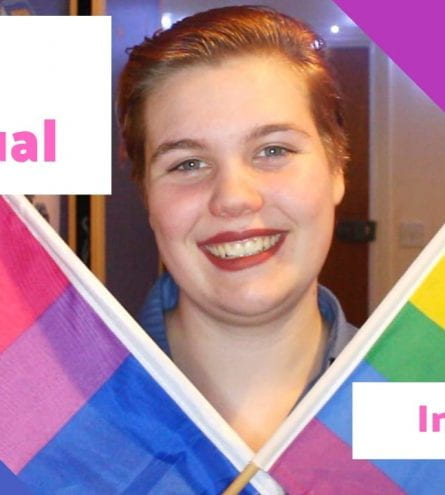 Thumbnail of a girl holding two LGBT flags, saying 'being bisexual in Lincoln'