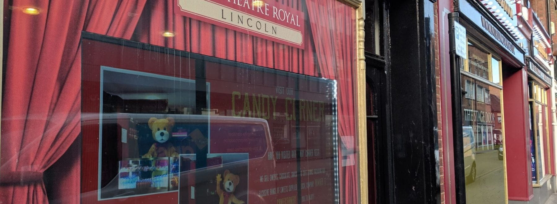 The New Theatre Royal with an electronic screen in the window