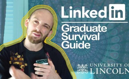 Thumbnail of someone holding a phone, saying 'LinkedIn Graduate Survival Guide'