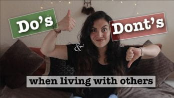 Thumbnail of girl with thumbs up and thumbs down, saying 'Do's and Dont's when living with others'