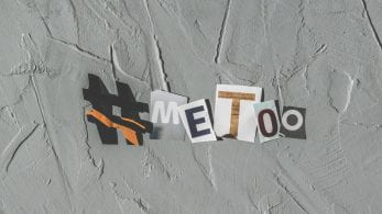 Cut out letters from magazines forms hashtag 'MeToo'