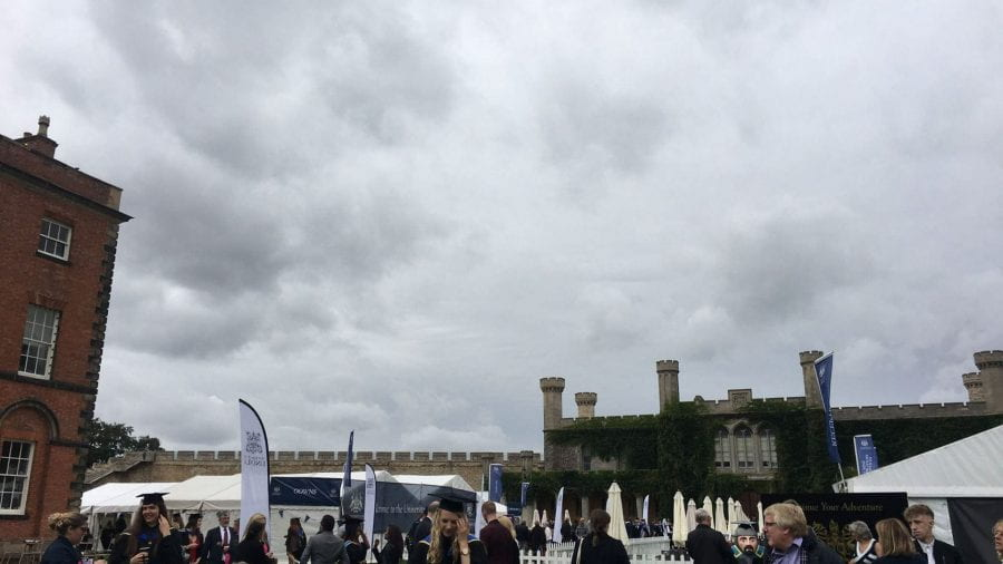Grey skies over graduation tents at Lincoln Castle