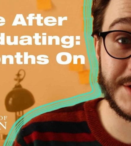 Thumbnail of a man wearing glasses with an orange background, saying 'life after graduating: 6 months on'