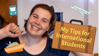 Thumbnail of international student, Malene, looking excited, surrounded by an aeroplane, boat, train and suitcase.