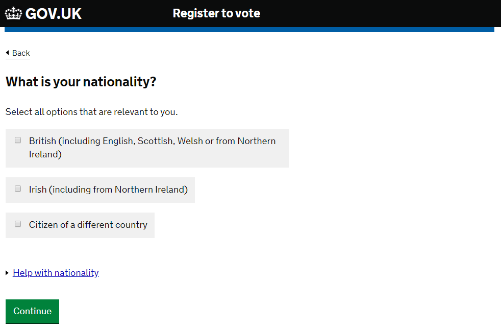 Screenshot of gov.uk/register-to-vote detailing nationality options.