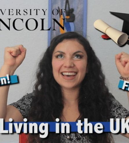 A girl cheers. A graduation cap graphics in beside her. So is the text 'Graduation', 'Future?' and 'Living in the UK'.