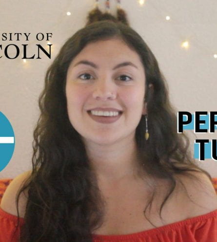 Thumbnail of a girl smiling with the University of Lincoln logo, saying 'personal tutors'