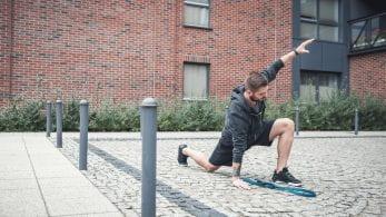 Man in sportswear exercising outside