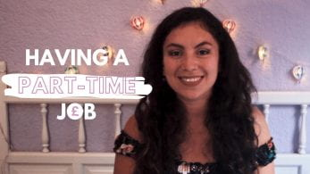 Thumbnail of a girl smiling with fairy lights, saying 'having a part-time job'