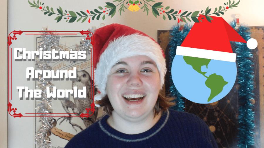 woman smiling thumbnails saying 'christmas around the world'