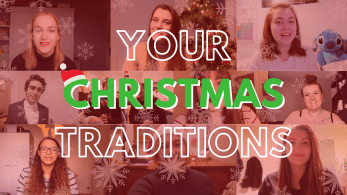 multiple thumbnails of men and women saying 'your christmas traditions'