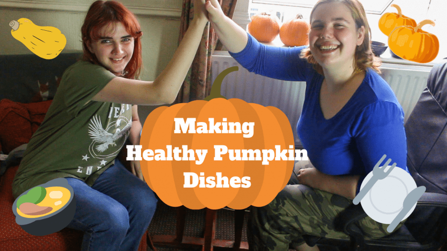 Two girls high five. A graphic of a pumpkin is in the middle with the text on top saying 'Making healthy pumkin dishes'.