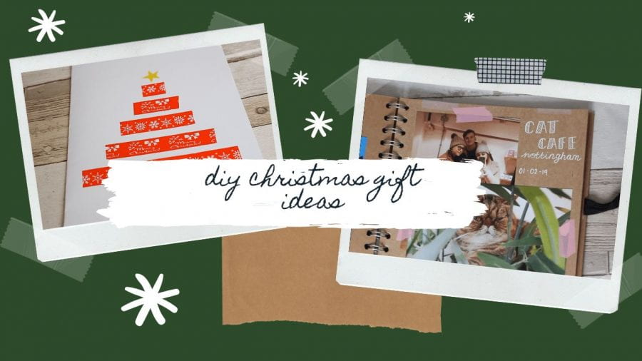 A photo of a scrapbook. A Photo of a homemade Christmas card. The text 'DIY Christmas Gift Ideas'
