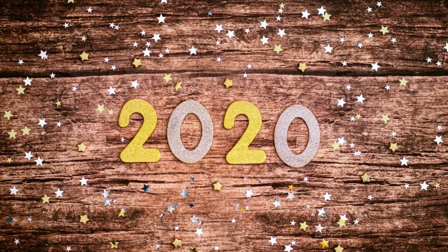 Stickers saying 2020