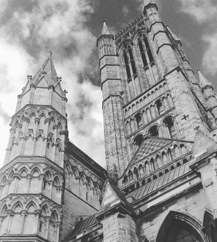 lincoln cathedral with cloudy sky
