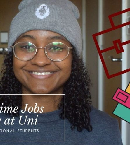 Thumbnail of a girl smiling. The text says; Part time jobs while at uni for international students.