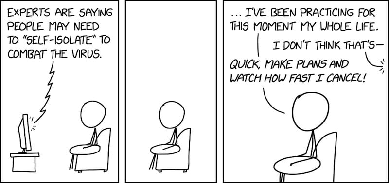 Comic strip of self-isolation against the coronavirus.