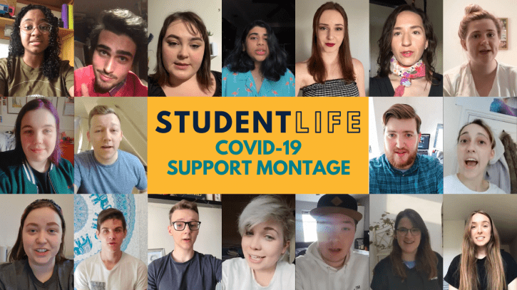 Preview image for the article Student Life COVID-19 support montage.