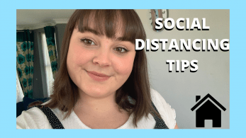 Girl smiling. Text reads: social distancing tips