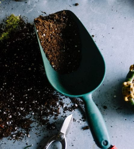 Scoop of mud and a plant pot, set in a green house