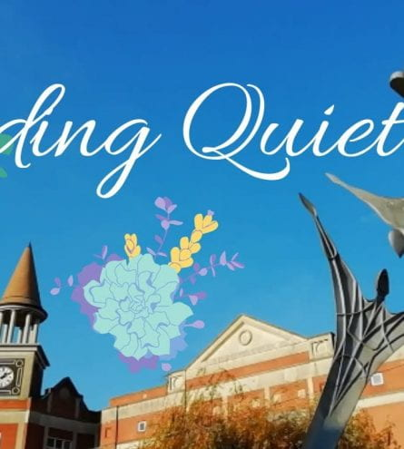 Thumbnail - image of a clock tower and statue. It reads finding quiet.