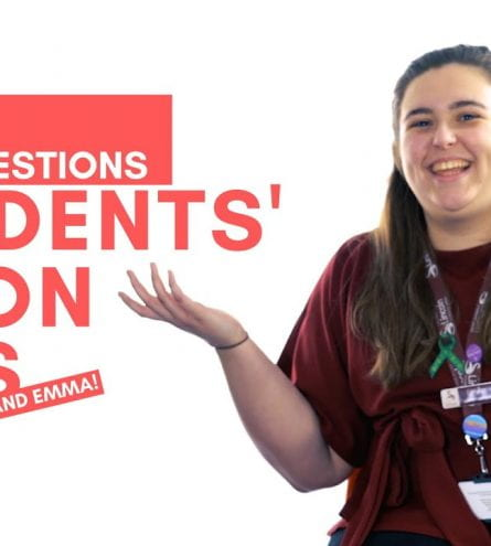 Thumbnail of a girl shrugging whilst smiling. The text reads: 20ish questions Students' Union Reps. Jacob and Emma.