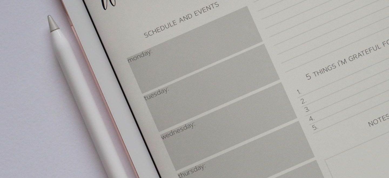 Weekly planner on an ipad