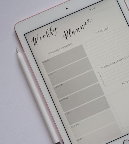 Weekly planner on an ipad