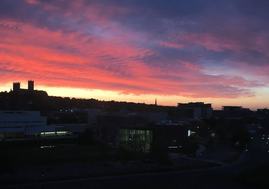 Sunset over Lincoln, with Lincoln Cathedral in the background