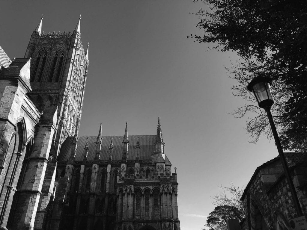 Lincoln cathedral in black and white