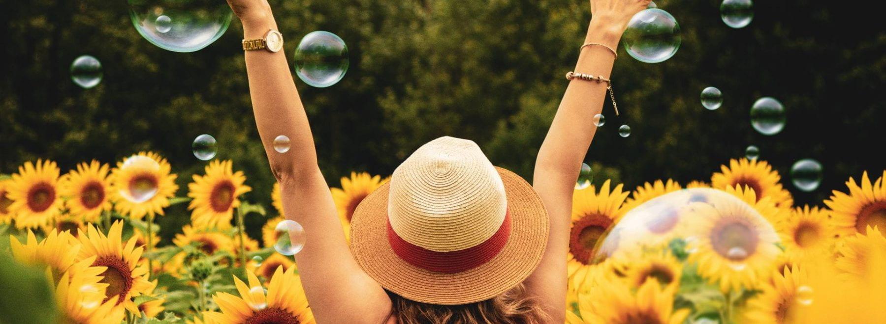 Woman stood in field of sunflowers