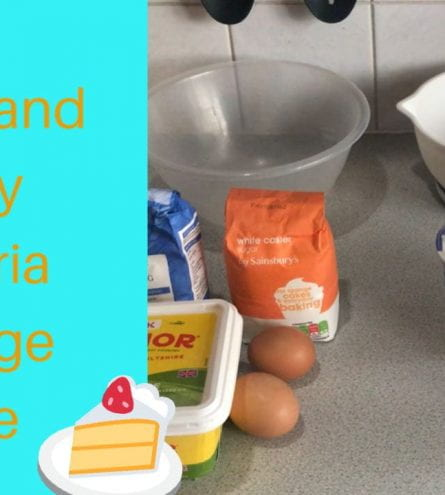 Baking ingredients. Thumbnail says: quick and easy victoria sponge cake
