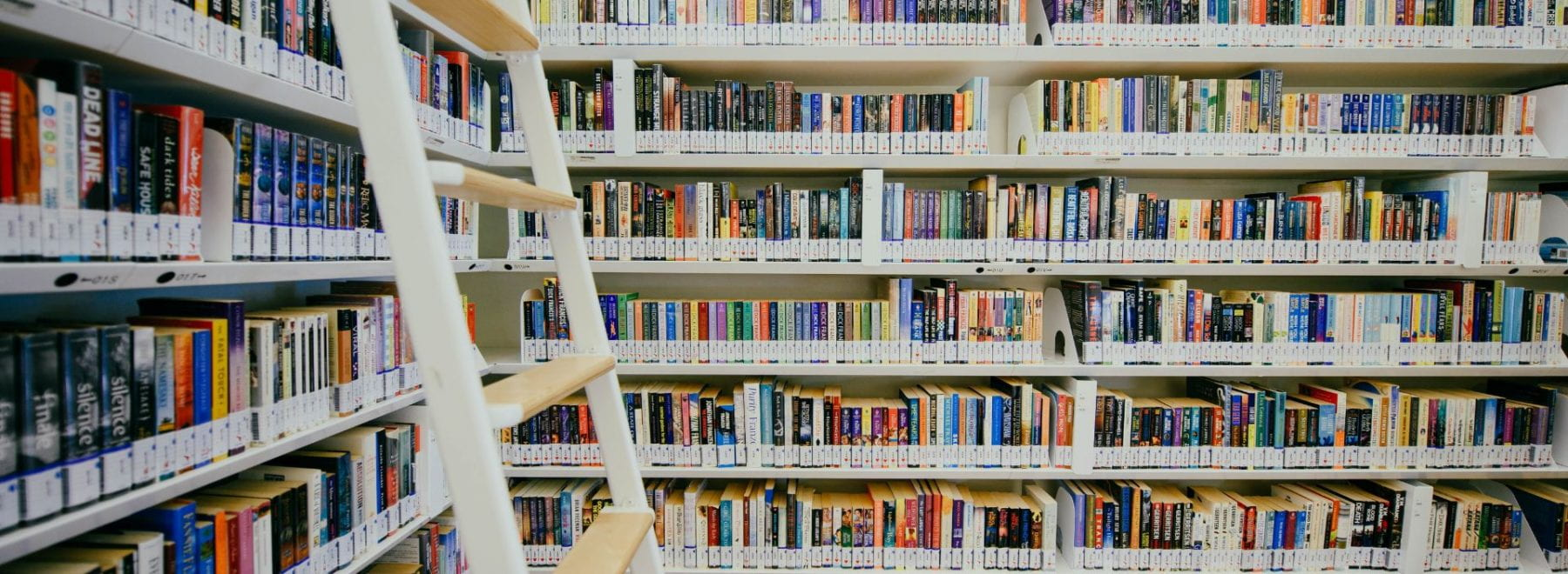 Shelves full of books in a library