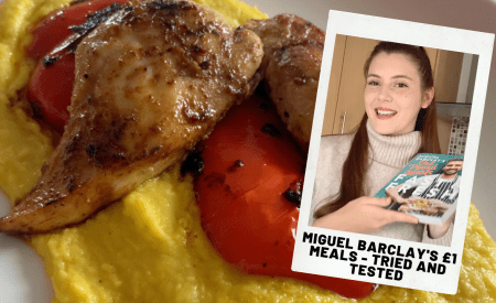 Thumbnail. Girl smiling holding recipe book. It says Miguel Barclays £1 Meals - Tried and Tested