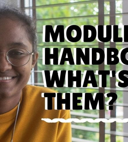 Thumbnail reading 'module handbooks: what's in them?