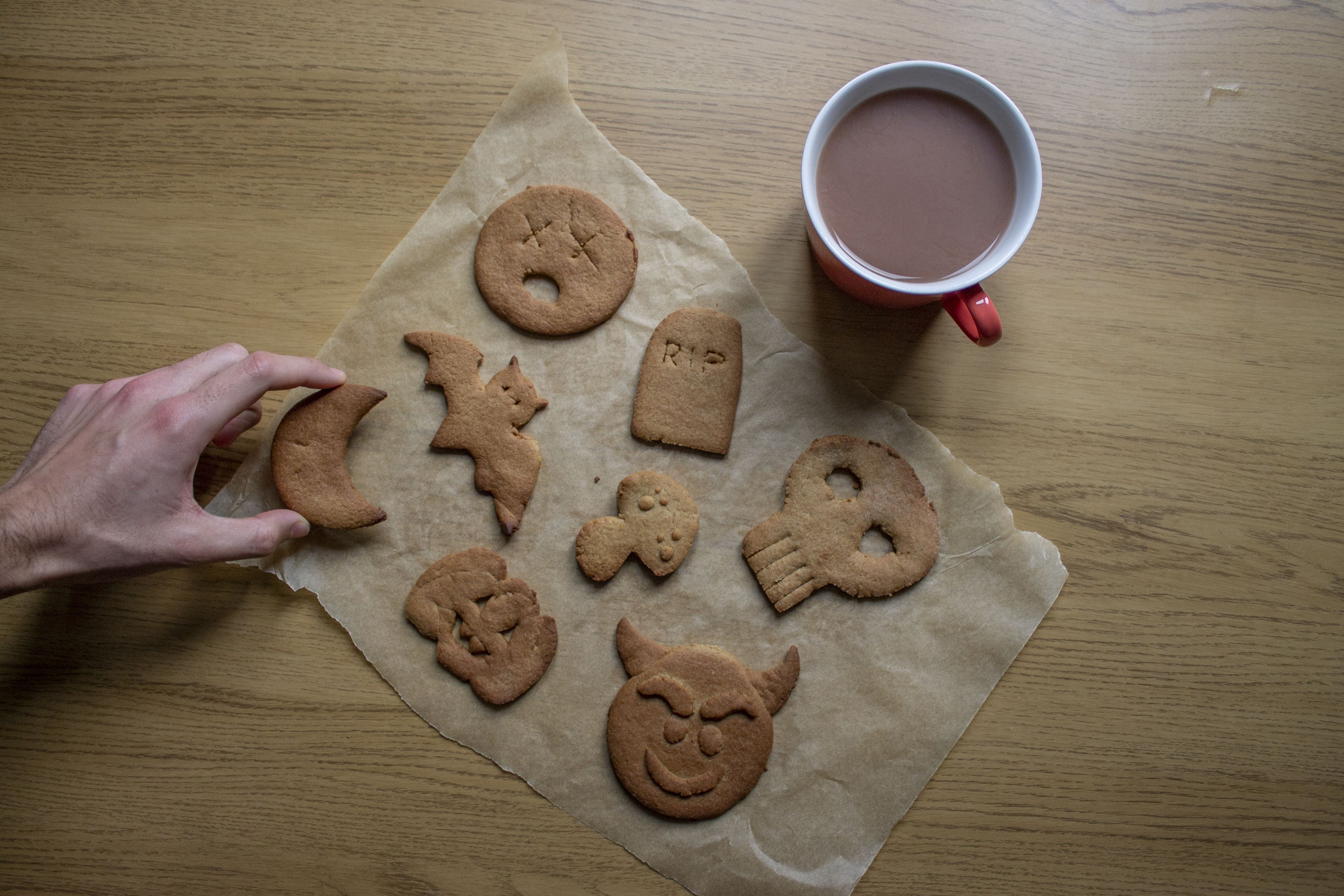 The finished cookies with a cup of tea