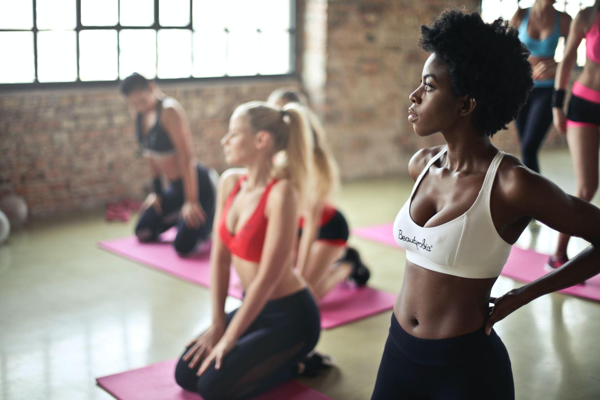 A class yoga session