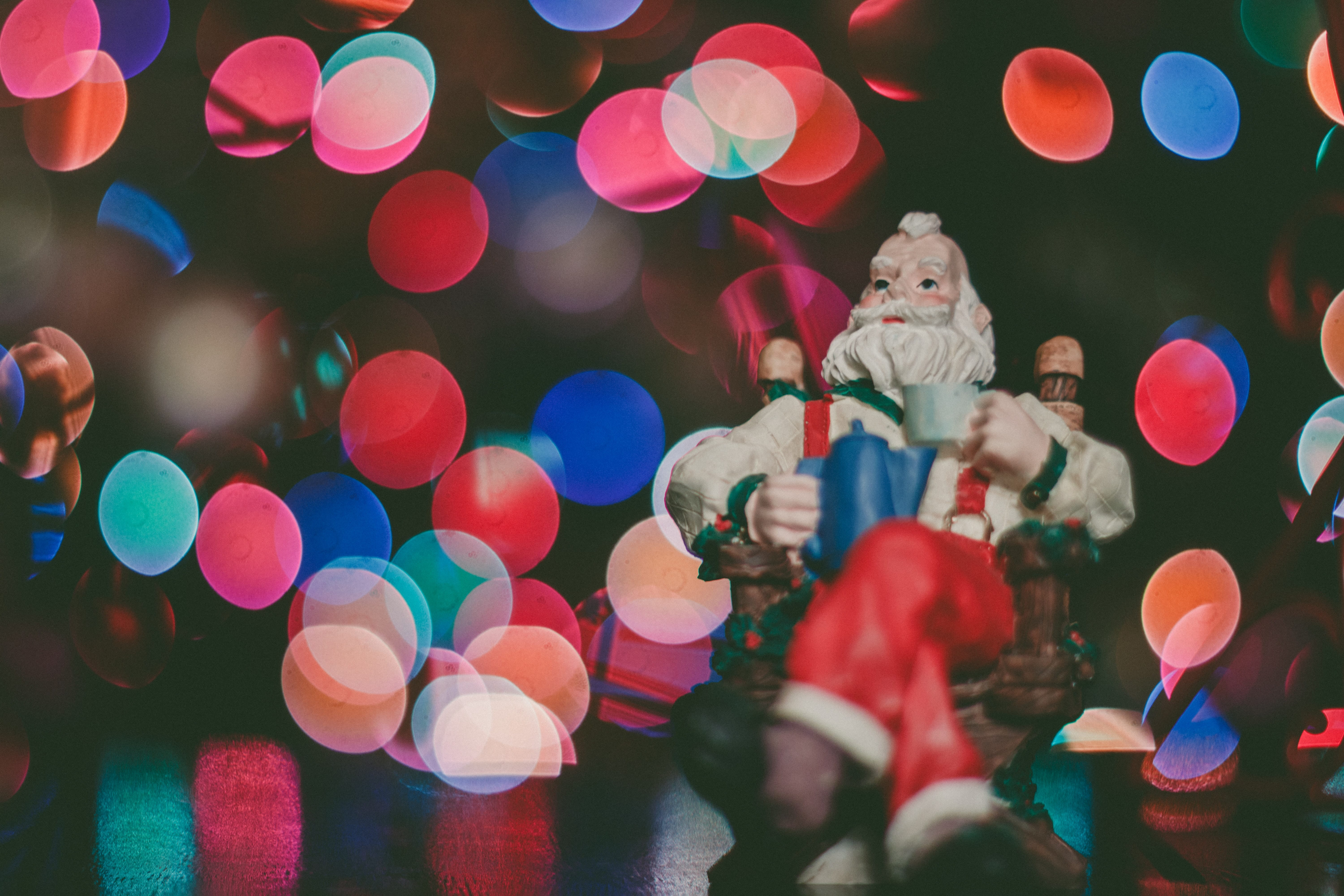 Ornament of Santa with a bokeh background