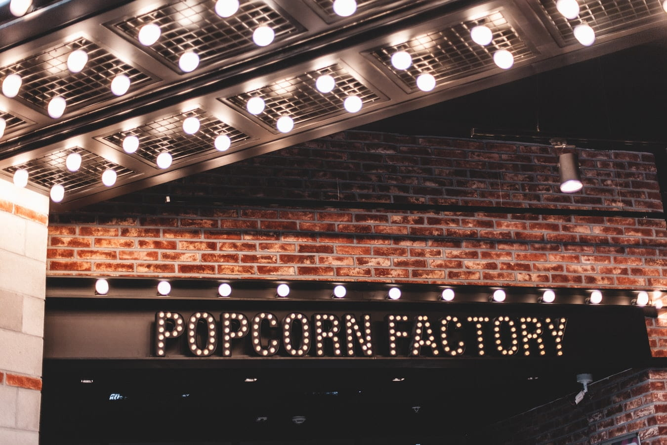 Popcorn factory shop sign