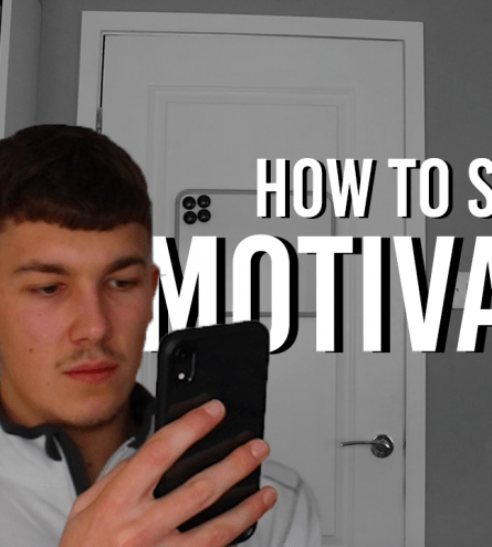 Ben centred on his phone with text saying 'How to stay motivated'