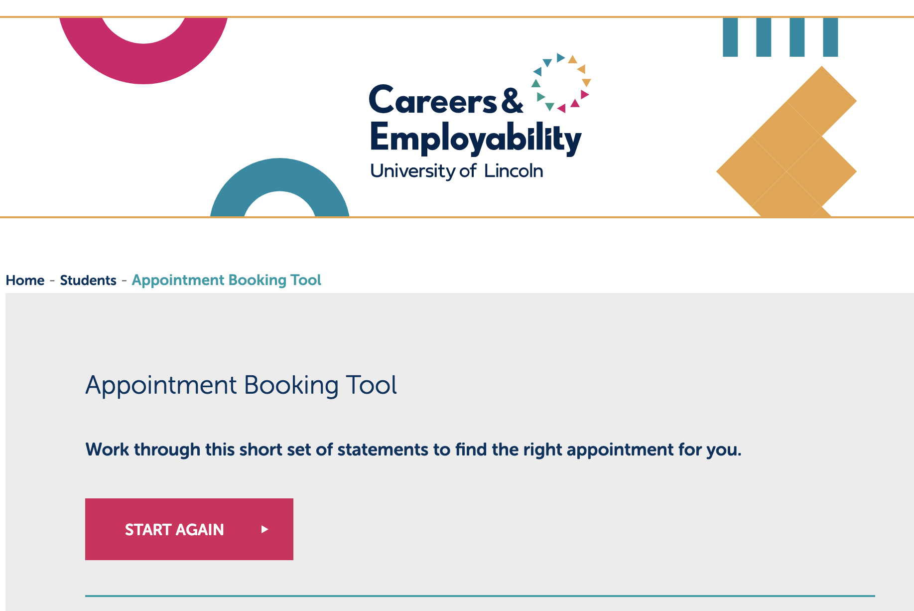Careers & Employability website screenshot to book an appointment