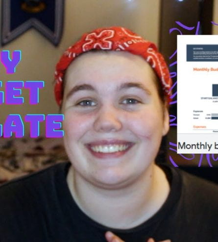 Malene centred with a screenshot of the monthly budgeting site and 'Easy Budget Template' text