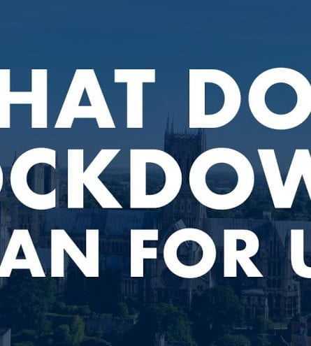 Faded background of Lincoln Cathedral with 'What does lockdown mean for us?'