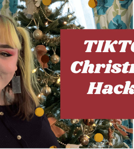 Lucy centred with a christmas tree and text reading 'TIKTOK Christmas Hacks!'