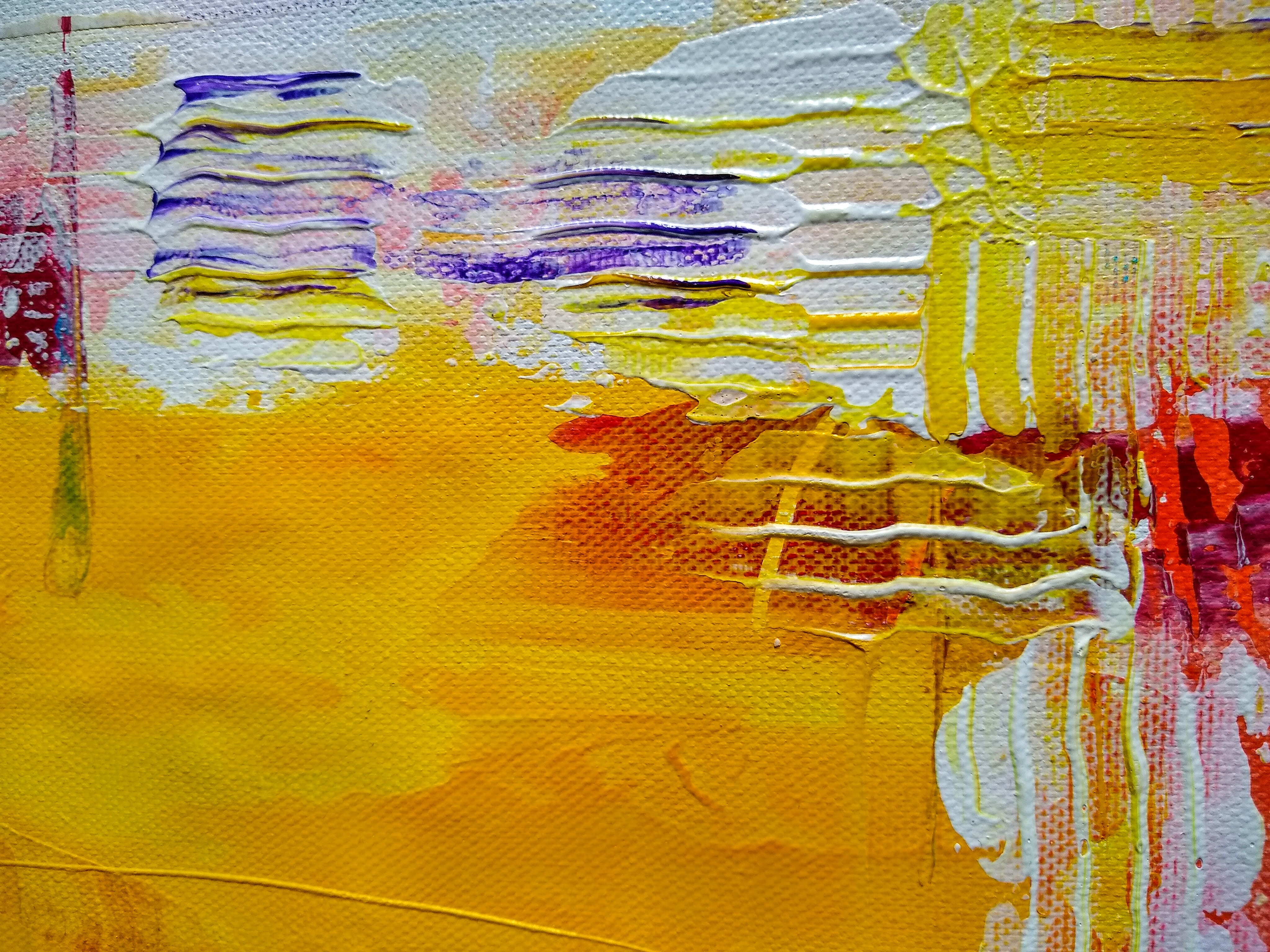 A painting. It is textured, yellow, red, white and purple.