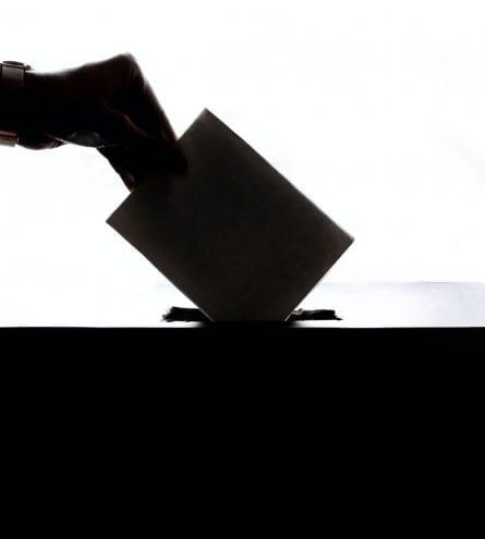silhouette of a ballot box