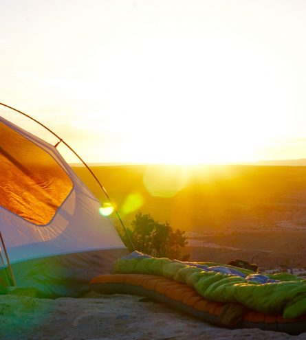 A tent during golden hour