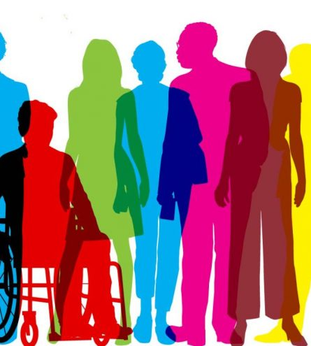 A rainbow silhouette of disabilities