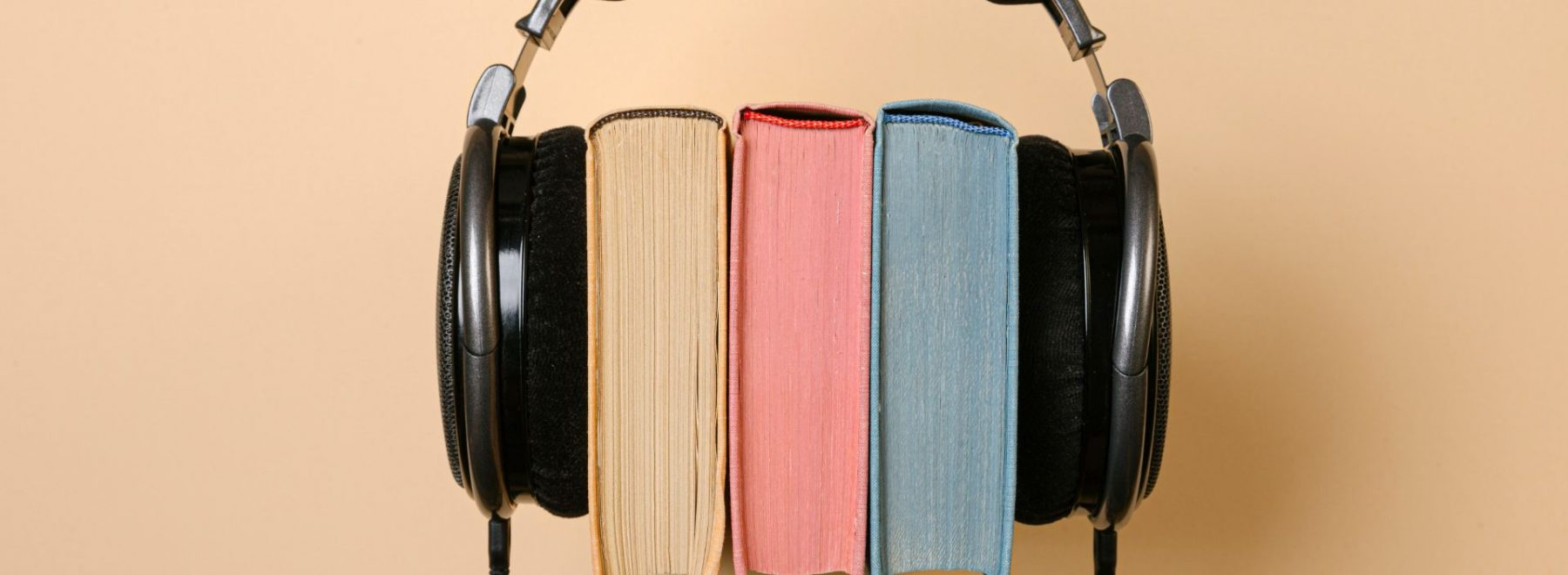 Headset over a series of books