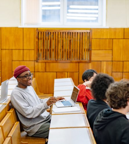 Students sat in a lecture hall